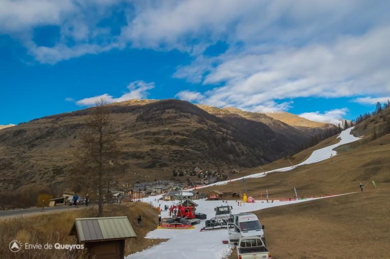 Le front de neige d'Abries le 23 decembre 2015