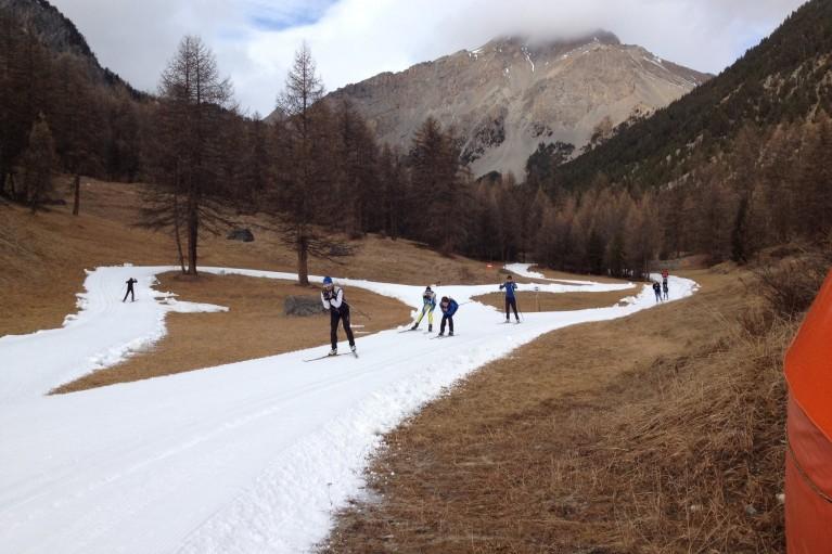 Le front de neige du domaine de ski de fond d'Arvieux le 25.12.2015