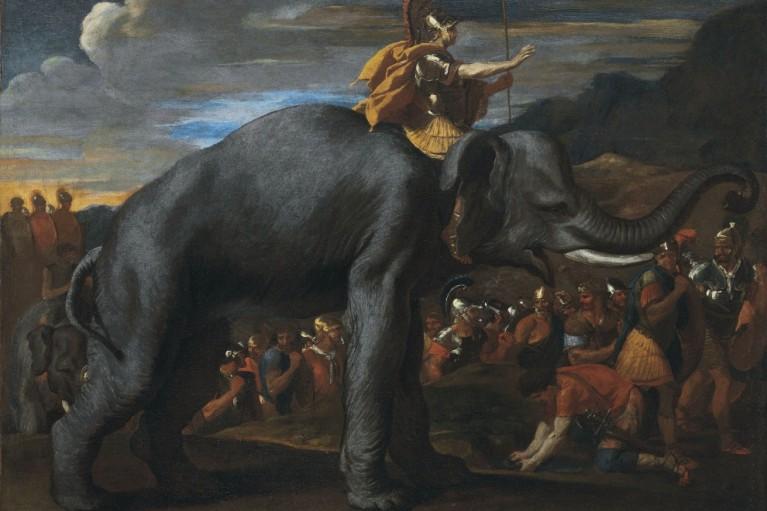hannibal traversant les alpes a dos elephant nicolas poussin