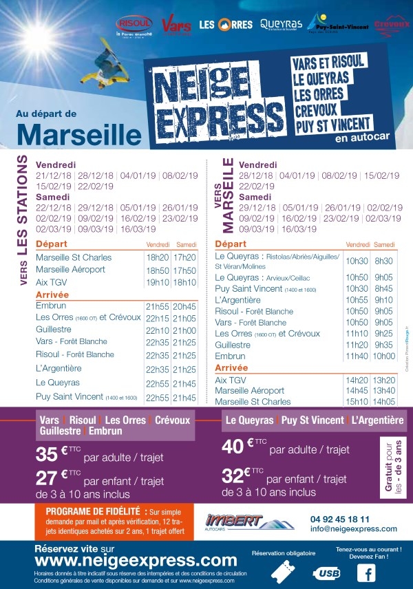 horaire depuis Marseille neige express hiver 2018/2019
