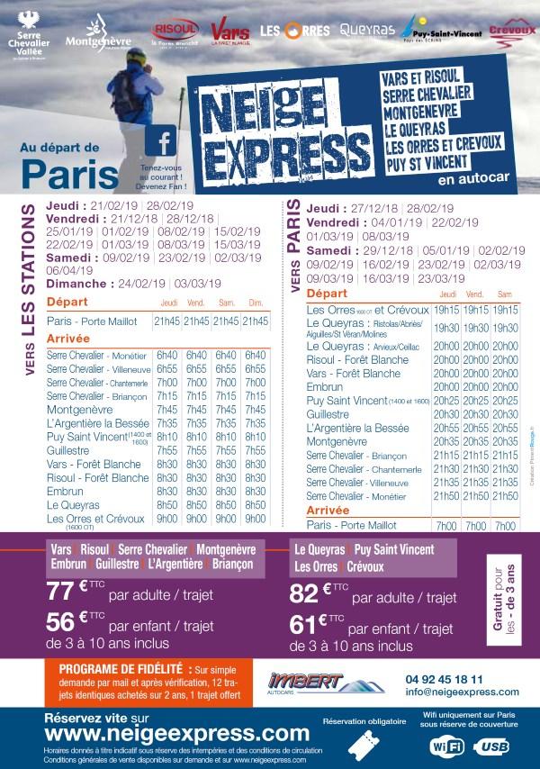 horaire depuis Paris neige express hiver 2018/2019