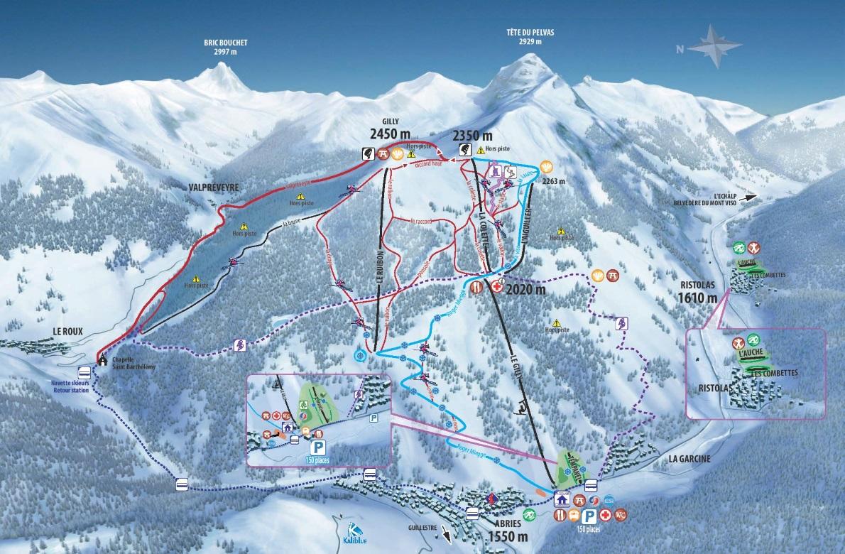 Plan des pistes du domaine skiable de Abriès Ristolas Haut-Guil