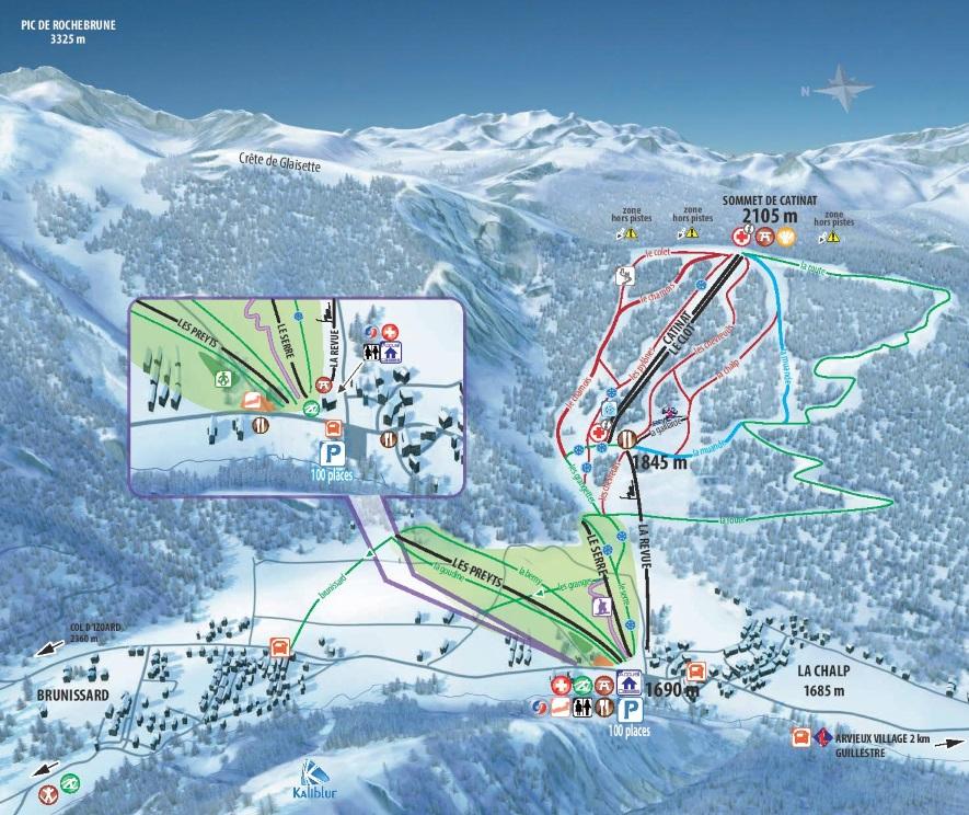 Plan des pistes du domaine skiable de Arvieux Izoard