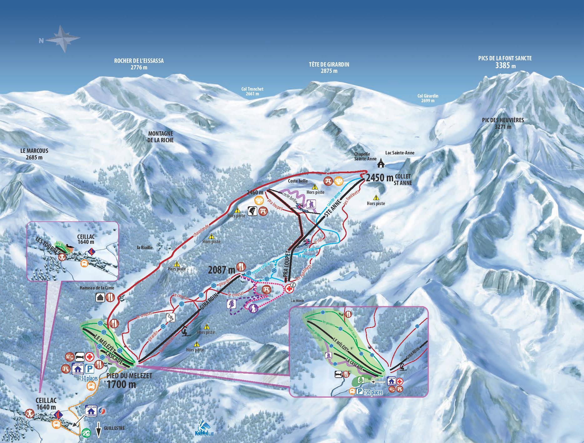 Plan des pistes du domaine skiable de Ceillac Cristillan