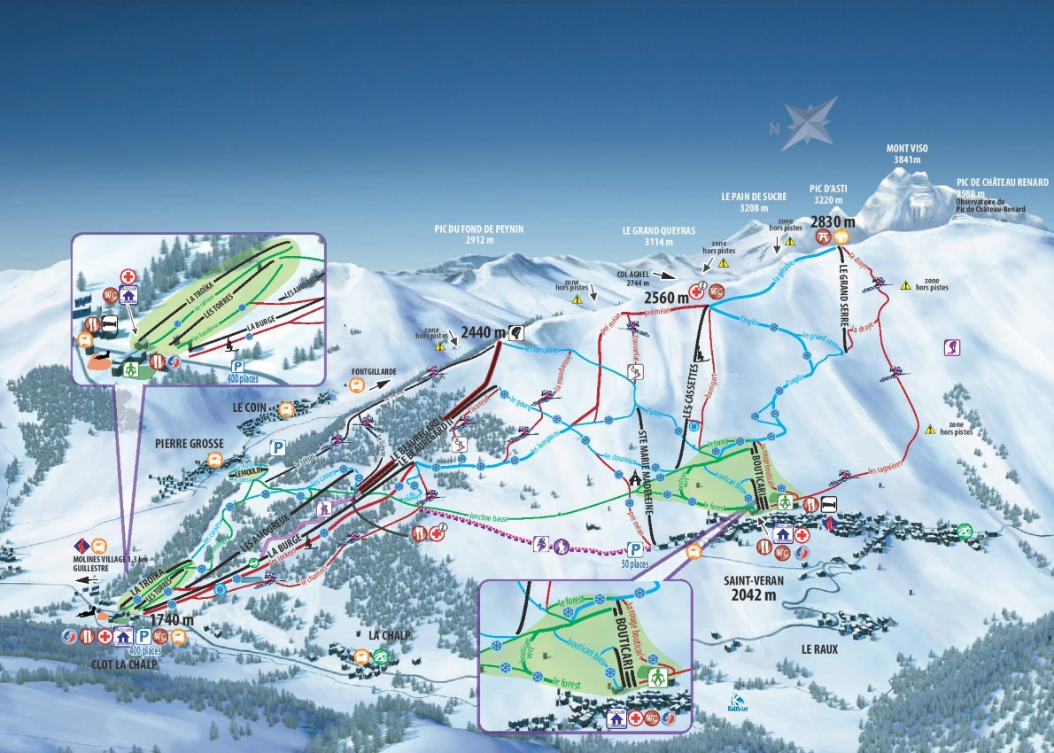 Plan des pistes du domaine skiable de Molines Saint-Véran Beauregard