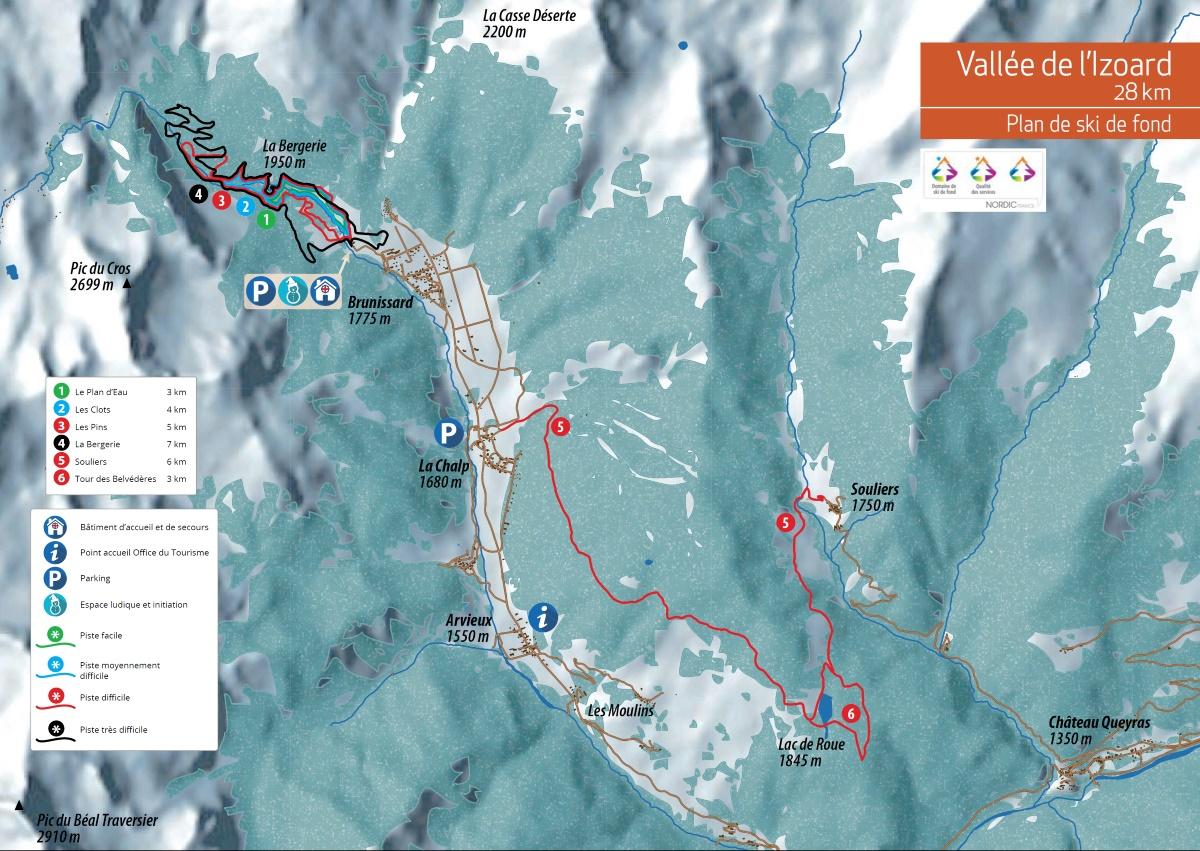 Plan des pistes du domaine skiable nordique d'Arvieux