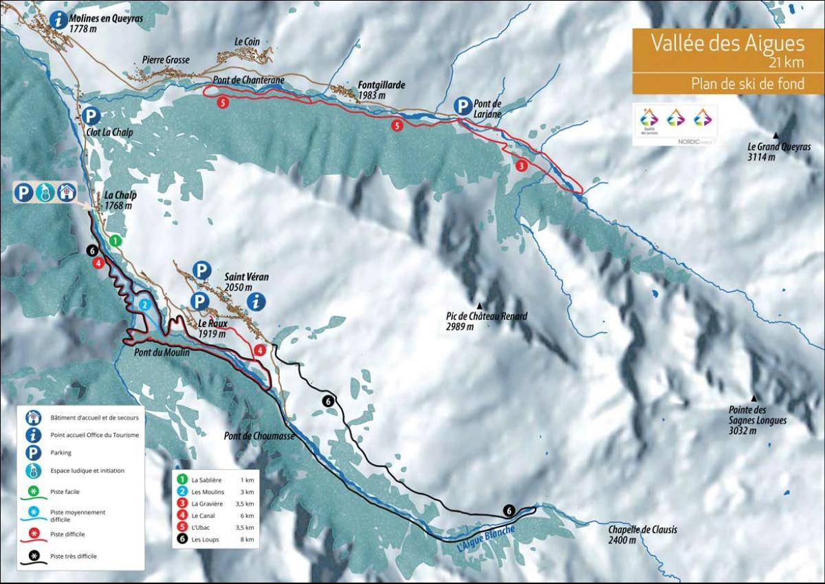 Plan des pistes du domaine skiable nordique de Molines Saint-Véran