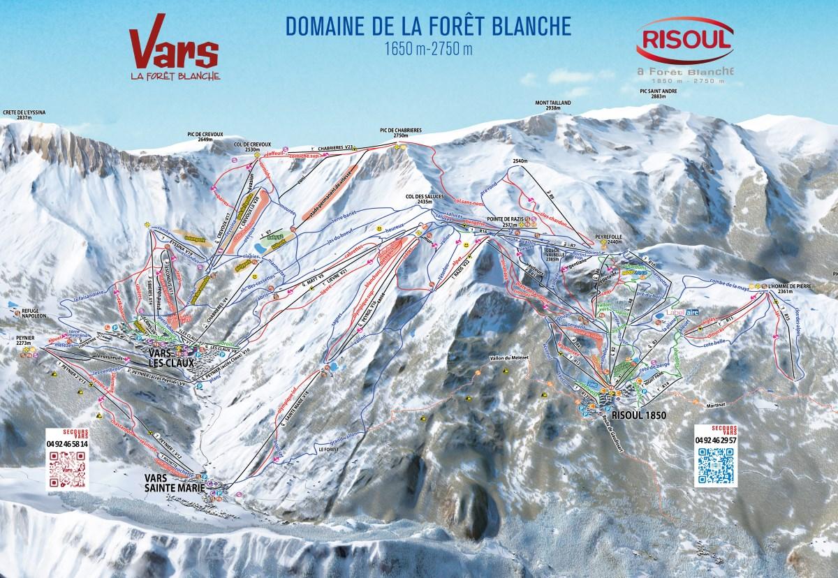 Plan des pistes du domaine skiable de Vars Risoul