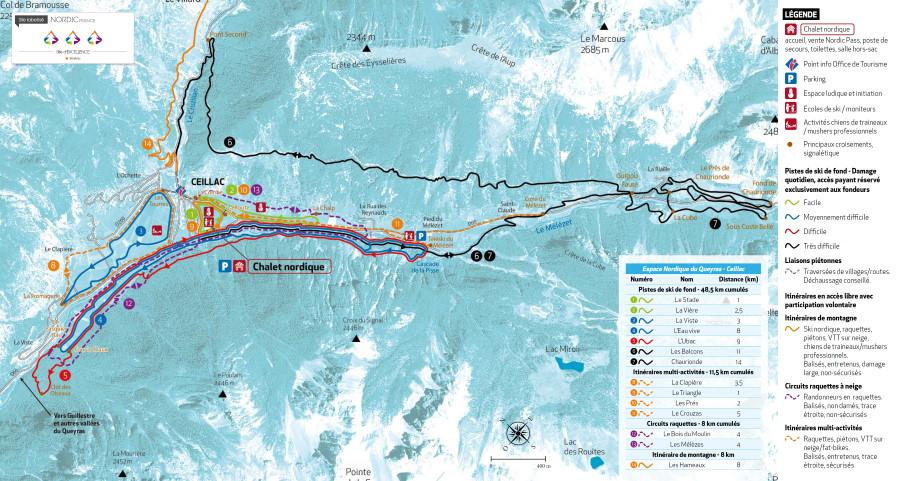 Plan des pistes du domaine skiable nordique de Ceillac
