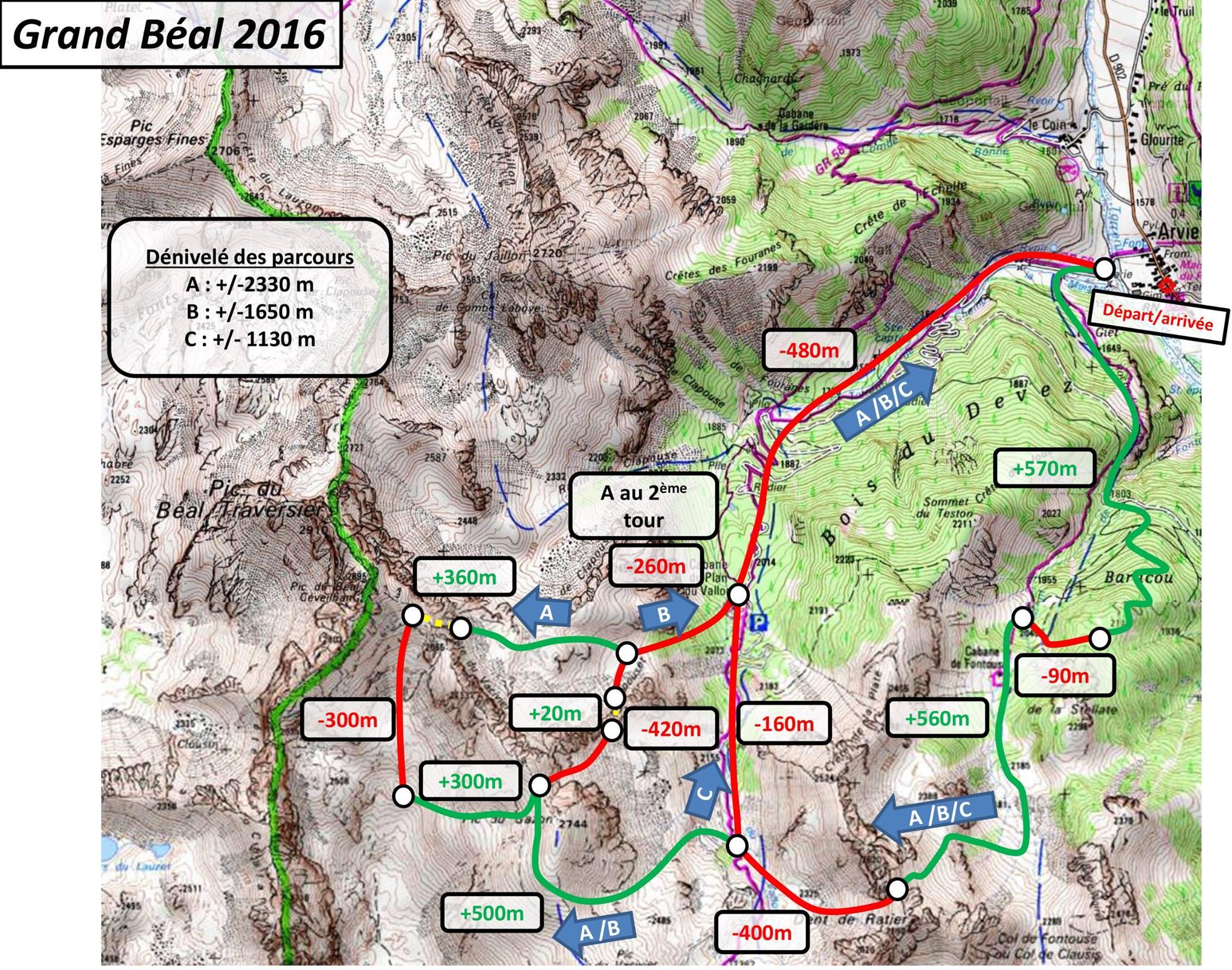 Tracés des parcours A, B, C du Grand Beal 2016